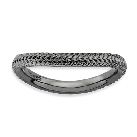 - Stackable Expressions Sterling Silver Polished Black Finish Curved Band Sz 8