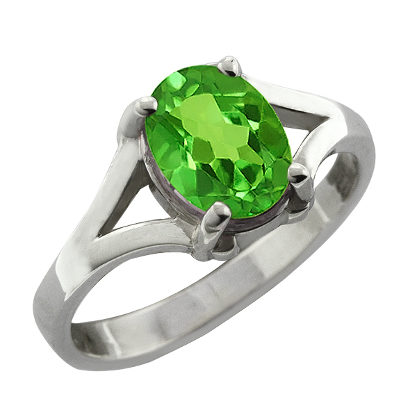 1.20 CT 8x6 Oval Cut Green Peridot 14K White Gold Ring by
