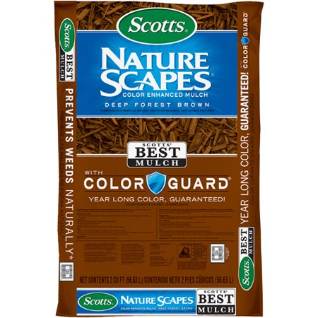 Scotts Nature Scapes Color Enhanced Mulch, Deep Forest Brown, 2 cu - Compost Starter Mulch