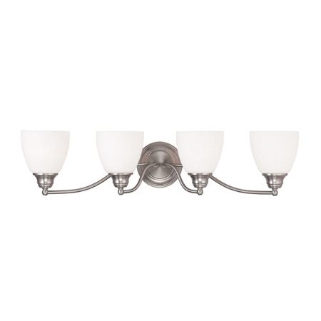 Bathroom Vanity 4 Light With Hand Blown Satin Opal White Glass Brushed Nickel size 30 in 400 Watts - World of Crystal