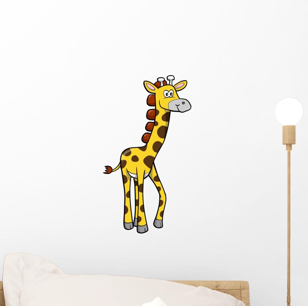 Cute Little Baby Giraffe Wall Decal Sticker by Wallmonkeys Peel and Stick Graphic (12 in H x 9 in W) WM285206