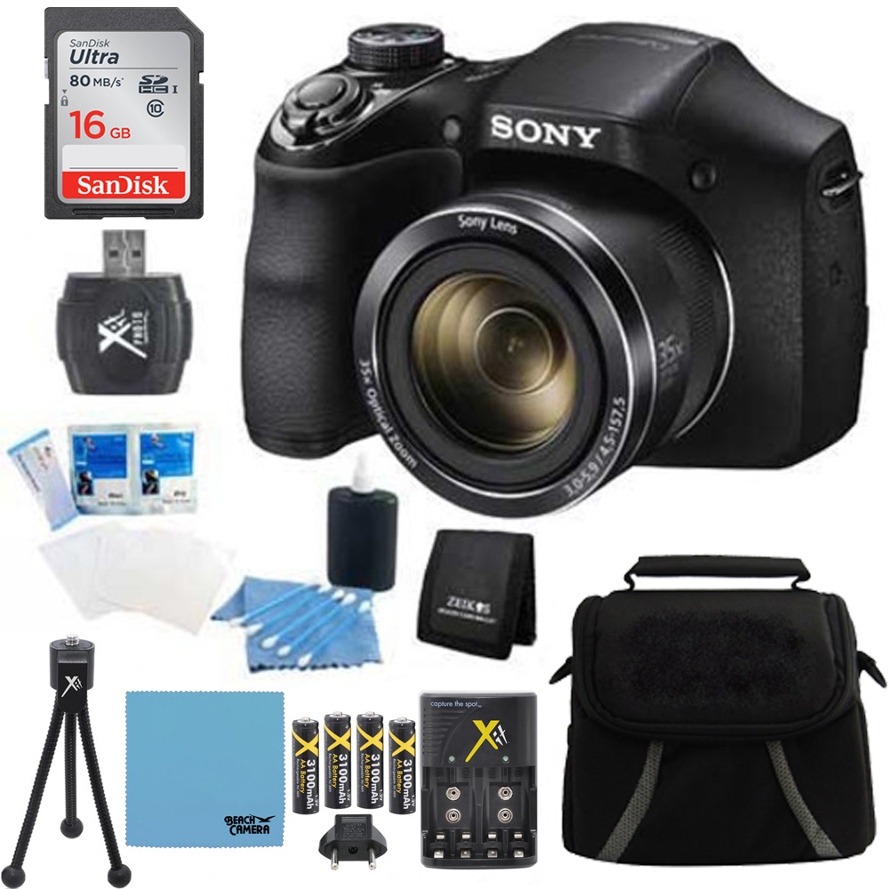 Sony DSC-H300 DSCH300 H300 H300/B Digital Camera (Black) Bundle w/ 16GB Ultra SDHC Memory Card, Rapid Multivoltage AC/DC Charger, 3100 Mah Rechargeable Batteries (Qty 4), Card Reader, Case + More
