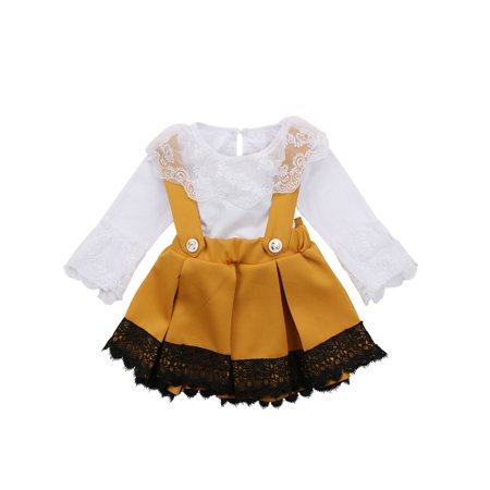 Kids Party Outfits (Newborn Kid Baby Girl Lace Jumpsuit Romper Bow Princess Party Skirt Dress)