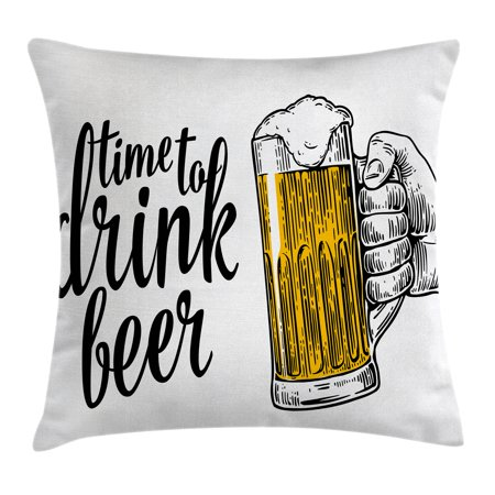 Lifestyle Decor Throw Pillow Cushion Cover, Time to Drink Beer Quote with Man Hand Holding the Mug Toast Illustration, Decorative Square Accent Pillow Case, 16 X 16 Inches, Yellow Black, by
