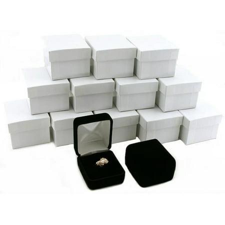 12 Black Velvet Ring Gift Boxes Jewelry Counter -
