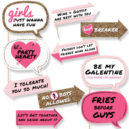 Funny Be My Galentine - Valentine's Day Photo Booth Props Kit - 10 Piece - Funny Topic