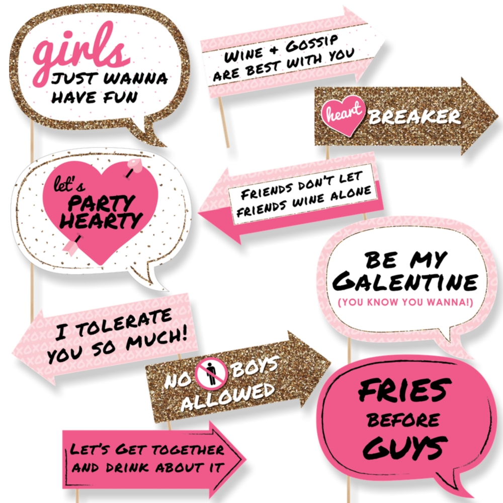 Funny Be My Galentine   Valentineu0027s Day Photo Booth Props Kit   10 Piece
