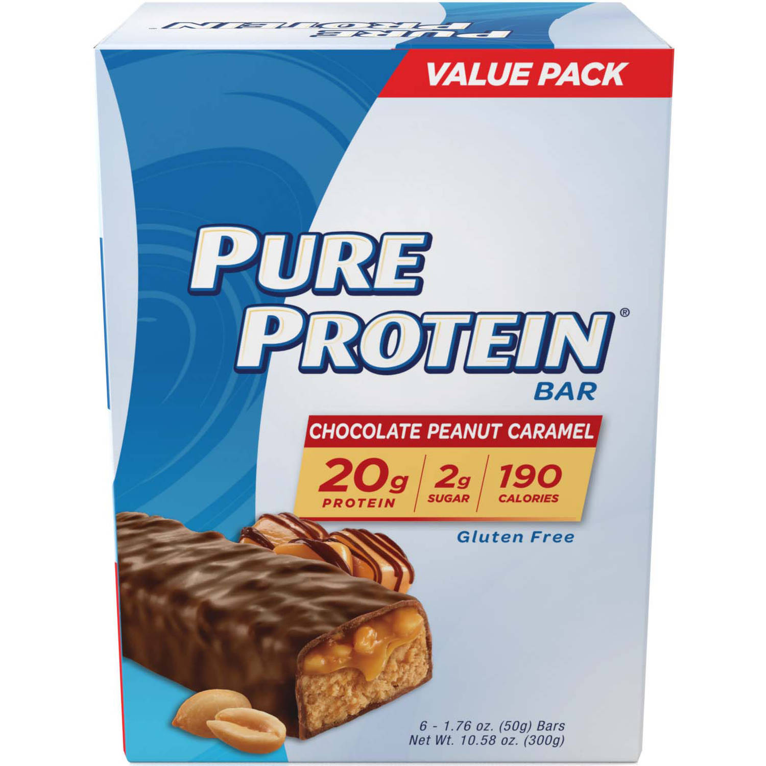 Pure Protein Revolution High Protein Triple Layer Chocolate Peanut Caramel Bars, 1.76 oz, 6 count