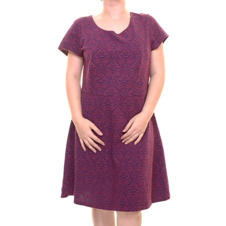 Maison Jules Women's Printed Crew Neck Cherry Plum Dress Size XXL (Plumb Dress)
