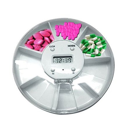Pill Reminder Alarm - Sectional Vitamin or pill organizer with alarm clock reminder