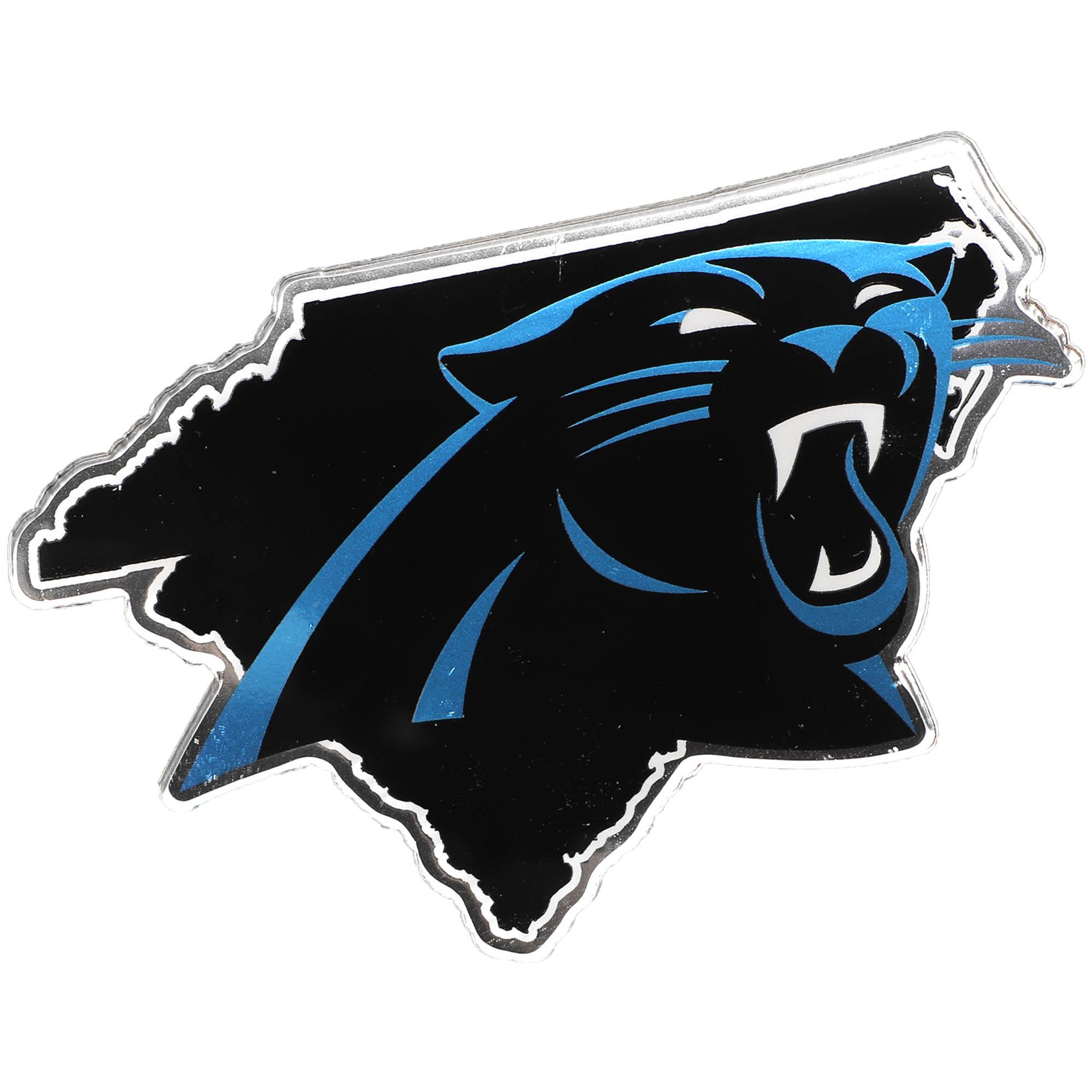 Carolina Panthers State Shape Acrylic Metallic Auto Emblem - No Size