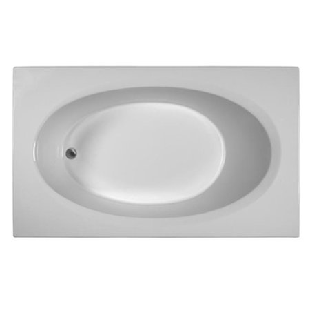 Reliance Baths R7142EROS-B Rectangular 71 x 42 inch Soaking Bathtub With End Drain, Biscuit Finish