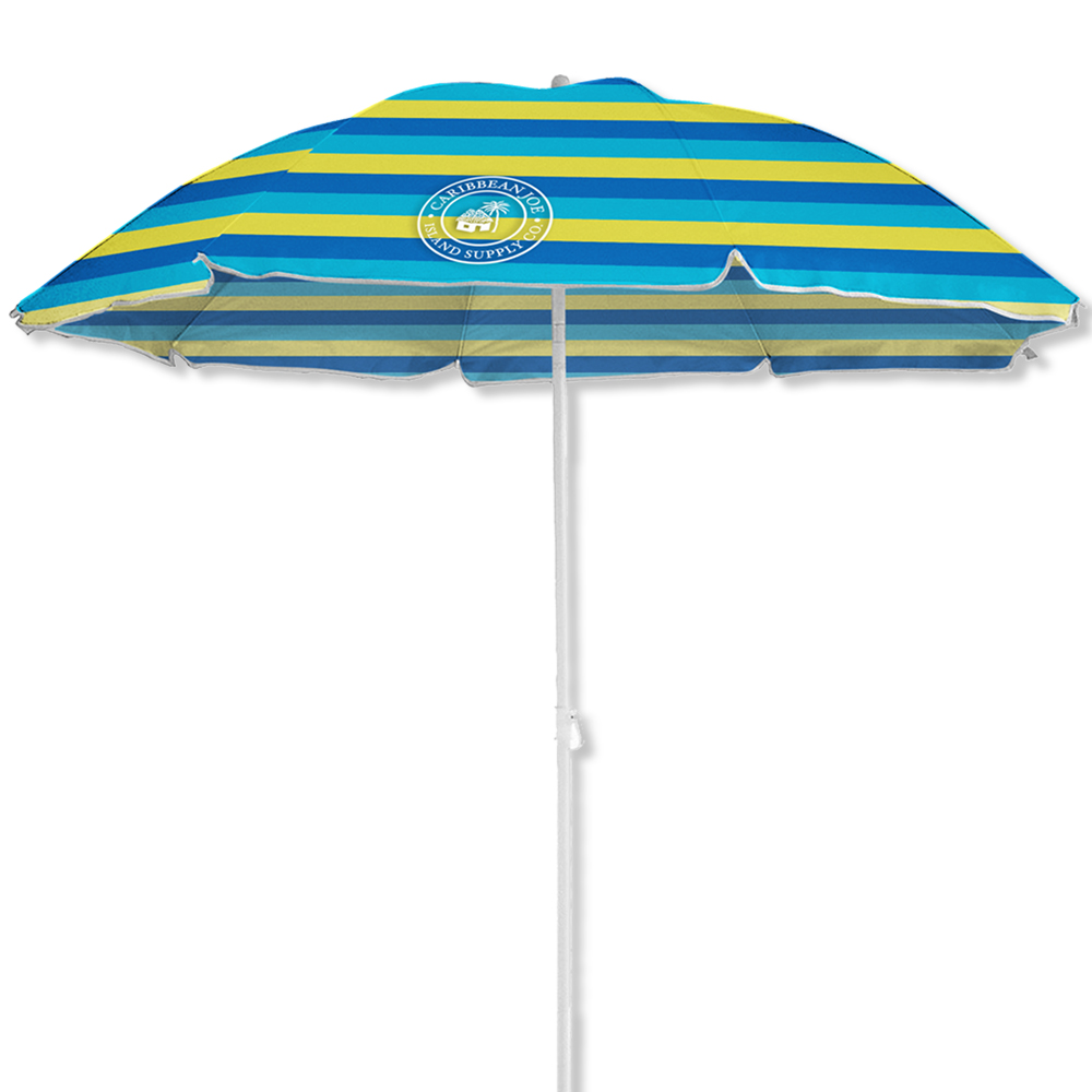 6' Caribbean Joe beach umbrella, UV protection, with color matching carry case