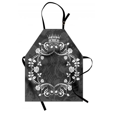 Queen Apron Delicate Victorian Antique Circular Flora with Crown Vintage Grunge Rusted Royal, Unisex Kitchen Bib Apron with Adjustable Neck for Cooking Baking Gardening, Black and White, by Ambesonne