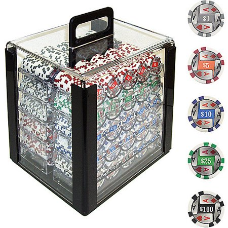 Trademark Poker 1000 11.5 Gram 4 Aces with Denominations Poker Chips in Acrylic Carrier (Four Aces Poker Chips)