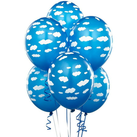 Mid Blue with Clouds Matte Balloons, 6pk