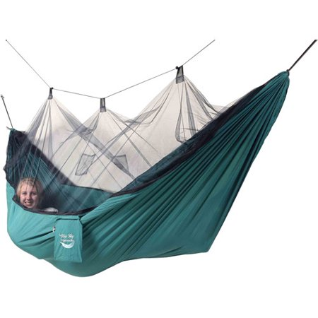 Blue Sky Hammocks Mosquito Net Hammock With Bonus Tree Strap  Green