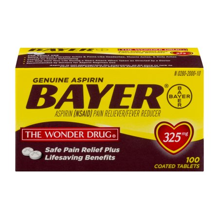 Genuine Asprin Bayer Pain Reliever Fever Reducer Coated Tablets   100 Ct