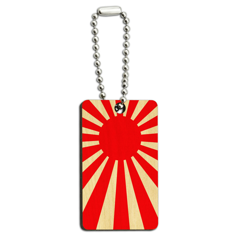 Japan Flag Rising Sun Wood Rectangle Key Chain by Graphics and More