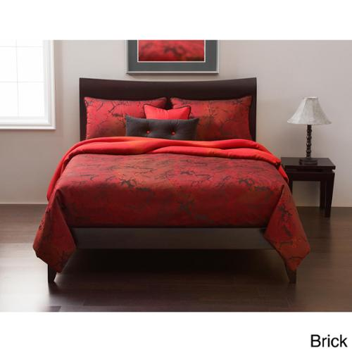 Cherry Blossom 6-piece Duvet Cover set: Comforter insert included Brick Queen