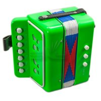 SKY Accordion Bright Green Color 7 Button 2 Bass Kid Music Instrument Easy to Play