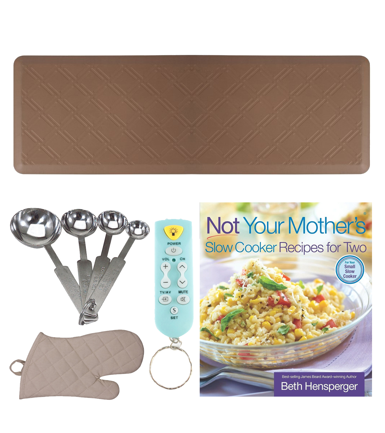 WellnessMats 6' x 2' Anti-Fatigue Bella Motif Floor Mat (Brown) Kitchen Bundle