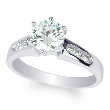 Ladies 10K White Gold 1.0 Carat Round Classic Channel Solitaire Ring Size (Channel Solitaire)