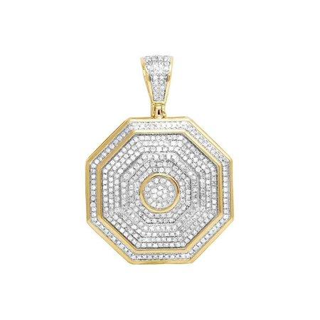 10K Yellow Gold Diamond Iced Octagon Pendant 1.5 Ct 1.5