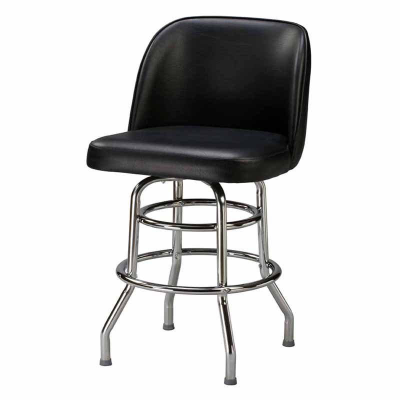 Regal Bucket Seat Large 30 in. Double Ring Chrome Bar Stool