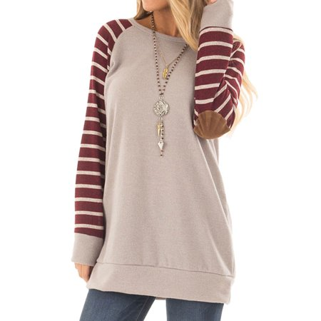 Starvnc Women Long Sleeve Round Neck Stripe Spliced Elbow Patchwork Sweatshirts