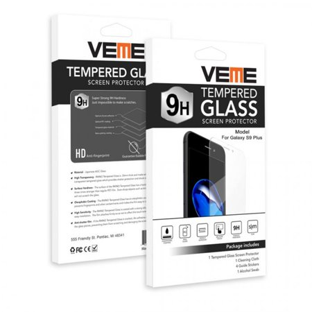(VEME Samsung Galaxy S9 Plus Ultra Clear 9H Hardness Tempered Glass, Anti-Scratch, High Sensitivity, Anti-Fingerprint, Full-Screen Coverage, Bubble Free)