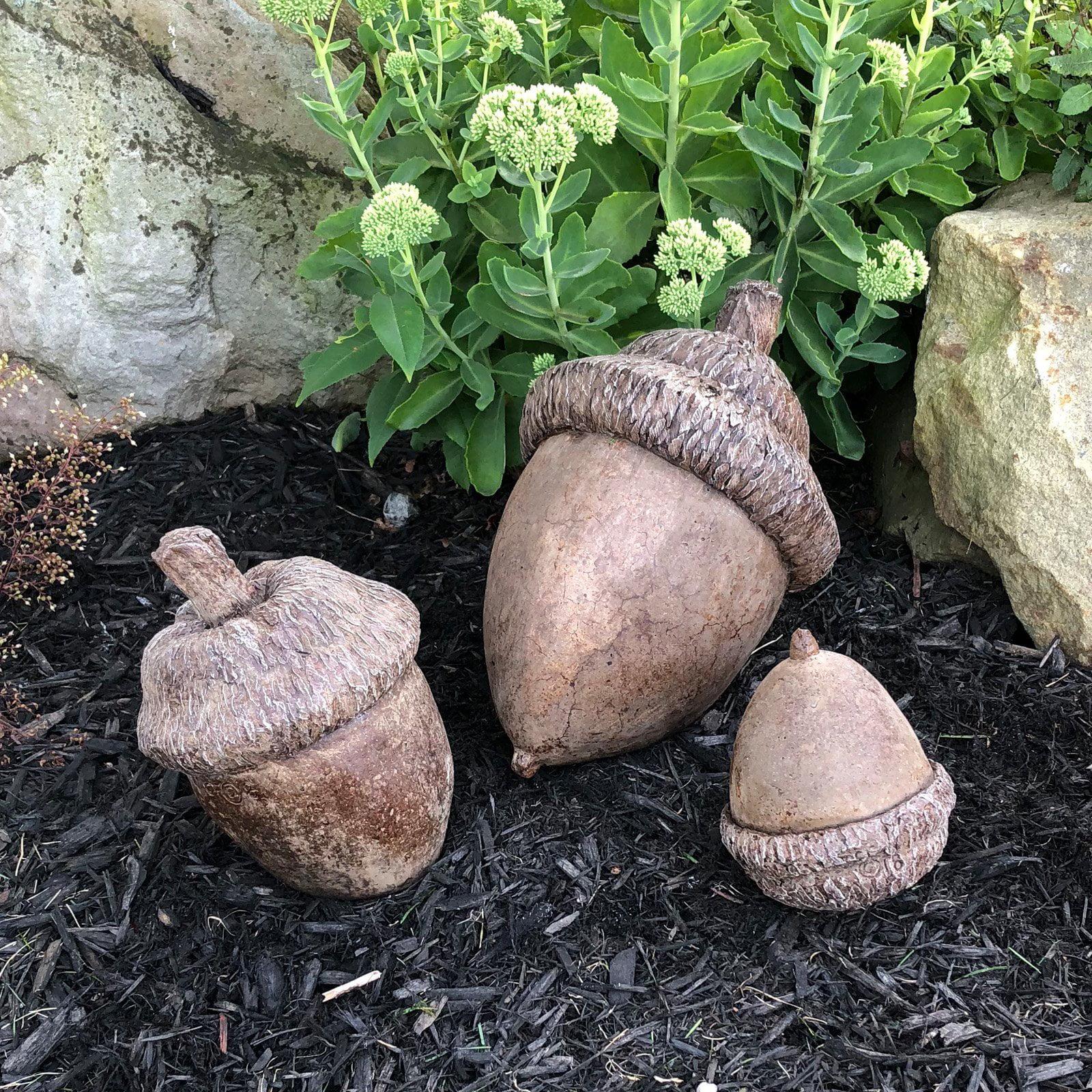 Athena Garden Decorative Cast Stone Acorns - Set of 3