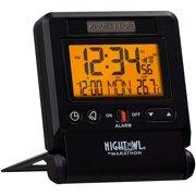 Marathon Atomic Travel Alarm Clock with Auto Back Light Feature, Black