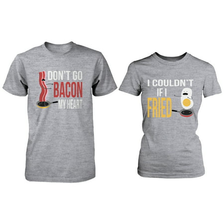 d134154d94 365 Printing - Cute Matching Couple Shirts - Bacon and Egg Grey Cotton  Graphic T-shirts - Walmart.com