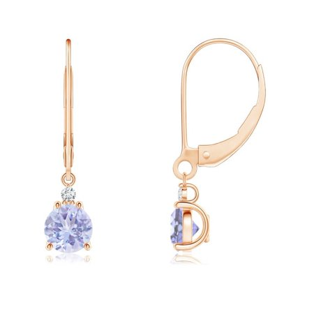 Tanzanite and Diamond Leverback Drop Earrings in 14K Rose Gold (5mm Tanzanite) - SE0998TD-RG-A-5