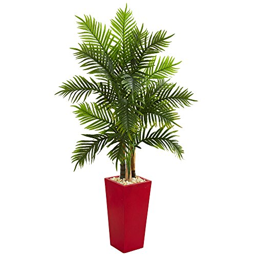 Nearly Natural artificial indoor 5.5' Areca Palm Artificial Tree in Red Planter (Real Touch)