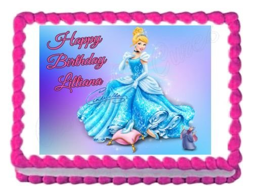 Cinderella Birthday Party Edible Cake Topper 1//4 FROSTING sheet