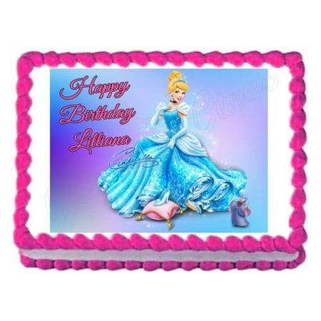 Terrific 1 4 Sheet Cinderella Edible Frosting Cake Topper Walmart Com Birthday Cards Printable Inklcafe Filternl