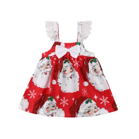 Baby Girls Christmas Ruffle Sleeve Snowman Bowknot Dress Snowflake Xmas Santa Claus Tutu Princess Dress](Kids Santa Dress)