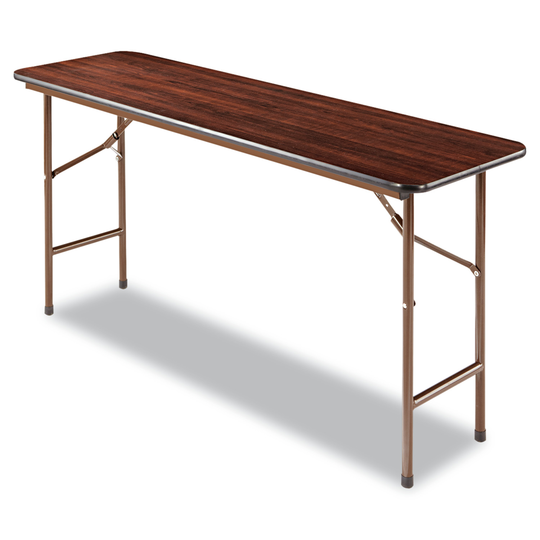 Alera Wood Folding Table, Rectangular, 60w x 18d x 29h, Walnut