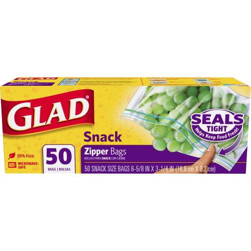 Glad Zipper Food Storage Bags, Snack Size, 50 Ct