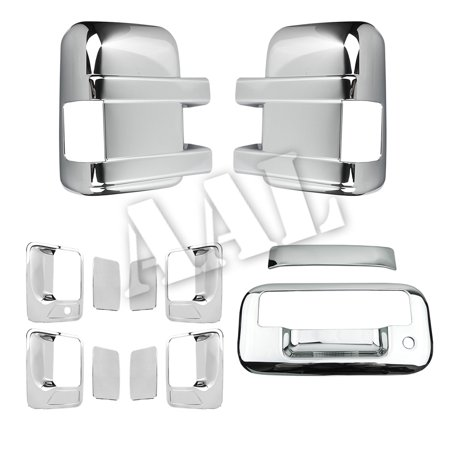 AAL Premium Chrome Cover Combo For FORD F-250 F250 F-350 F350 2008 2009 2010 2011 2012 2013 2014 2015 2016 MIRROR + DOOR HANDLE + TAILGATE Without - F350 Chrome Tailgate