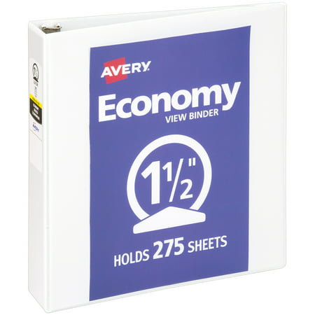 "Avery 1.5"" Economy View Binder, Round Ring, White, 275 Sheets"