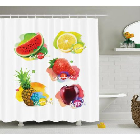 Fruit Shower Curtain Colorful Summer Food Arrangement Watermelon Slice Lemon Strawberry And Pineapple Fabric