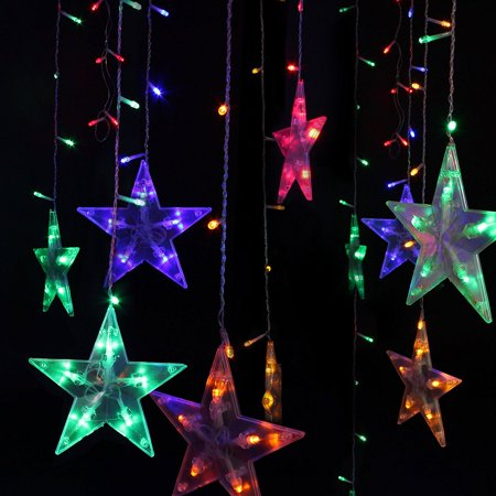 Festival Water Proof Christmas Decorations Tree Lights Outdoor String 120 Leds 3M 10ft Five Pointed Star For Bedroom Patio