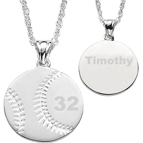 Personalized Silver-Tone Baseball Necklace