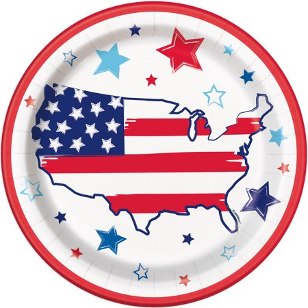 Bright Stars & Stripes Patriotic Paper Dinner Plates, 9in, 24ct](Patriotic Paper Plates)