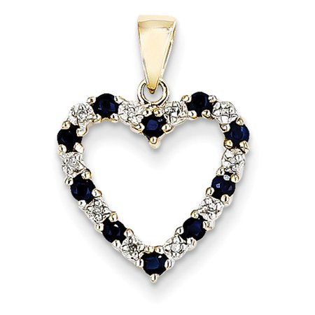 14K Yellow Gold Diamond   Sapphire Heart Pendant