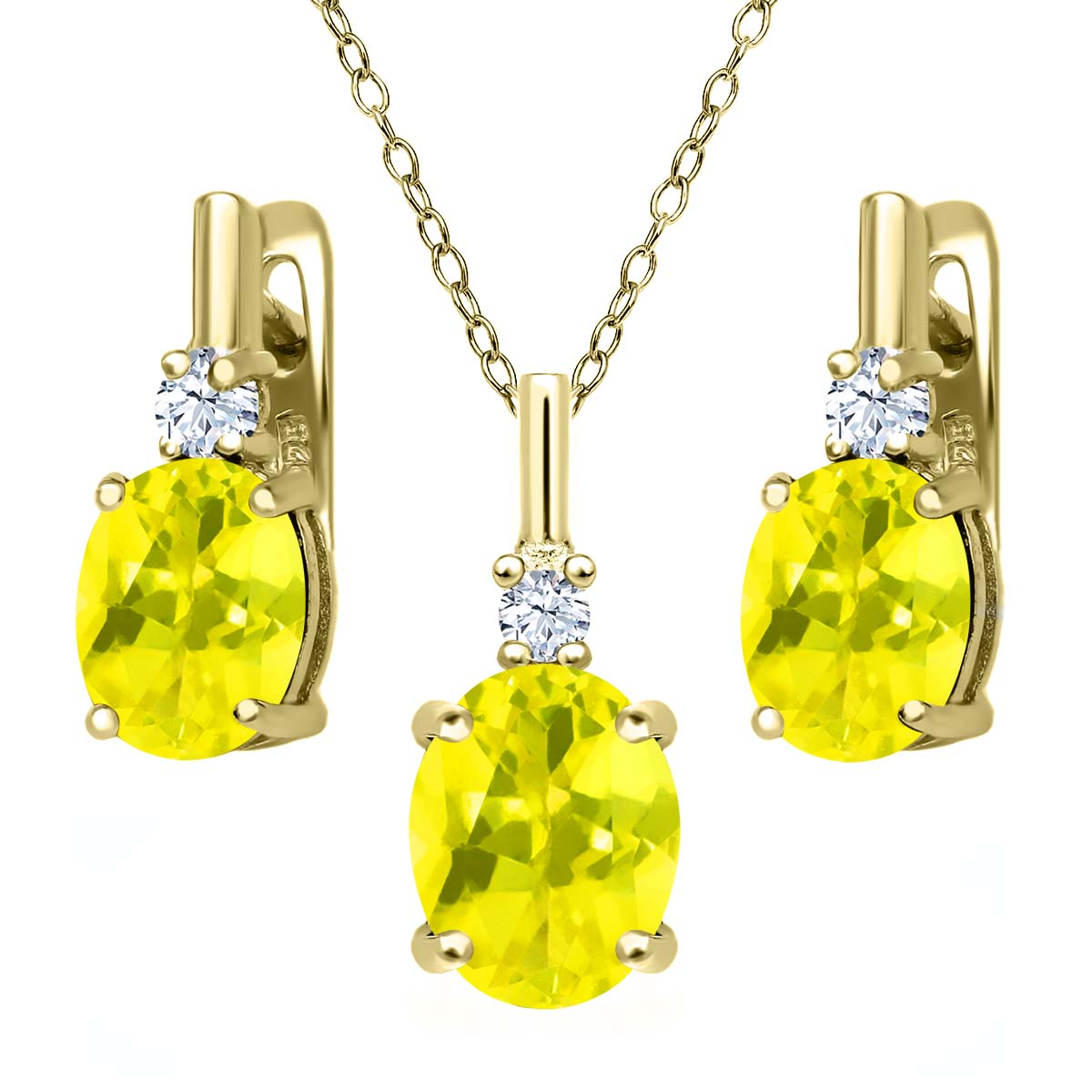 6.98 Ct Canary Mystic Topaz White Topaz 18K Yellow Gold Plated Silver Pendant Earrings Set by