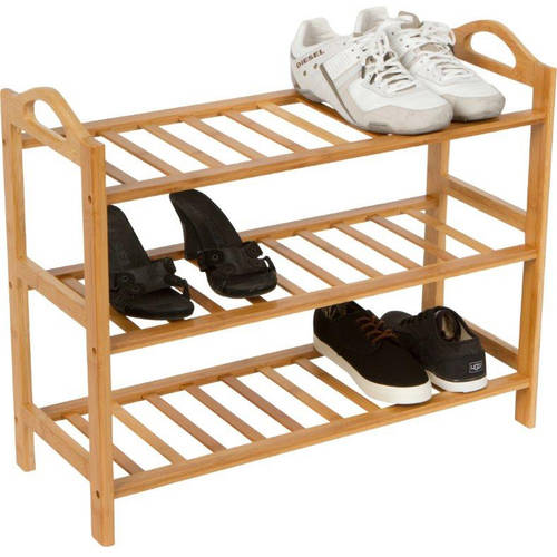Shoe Rack - 3 Shelves - 100% Natural Bamboo by Trademark Innovations